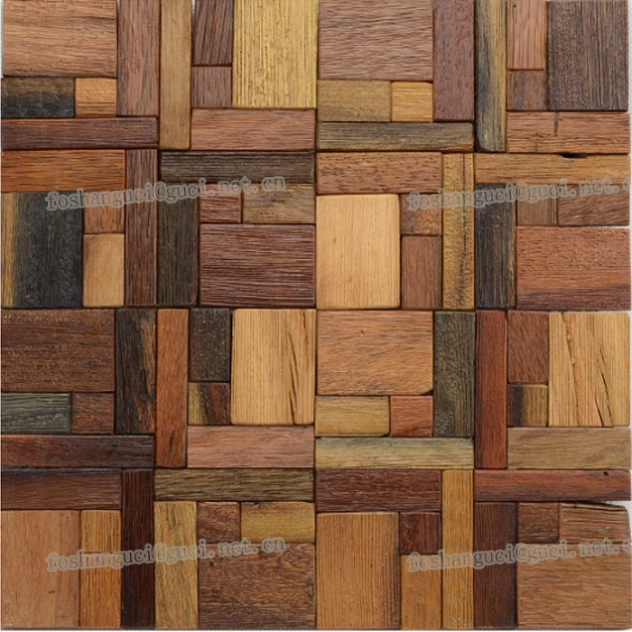 300x300mm Floor Tile Mixed Wooden Design Wood Mosaic Color