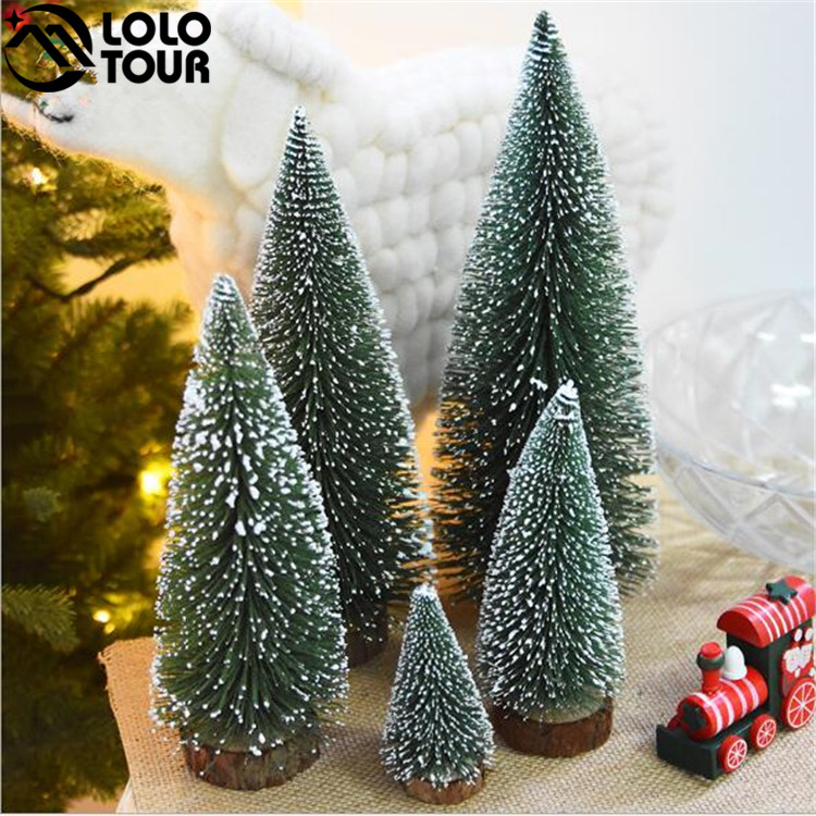2018 Manufacturer Sales Frosted Artificial Cedar Customized Style Mini Snowing Christmas Tree for Table Decoration