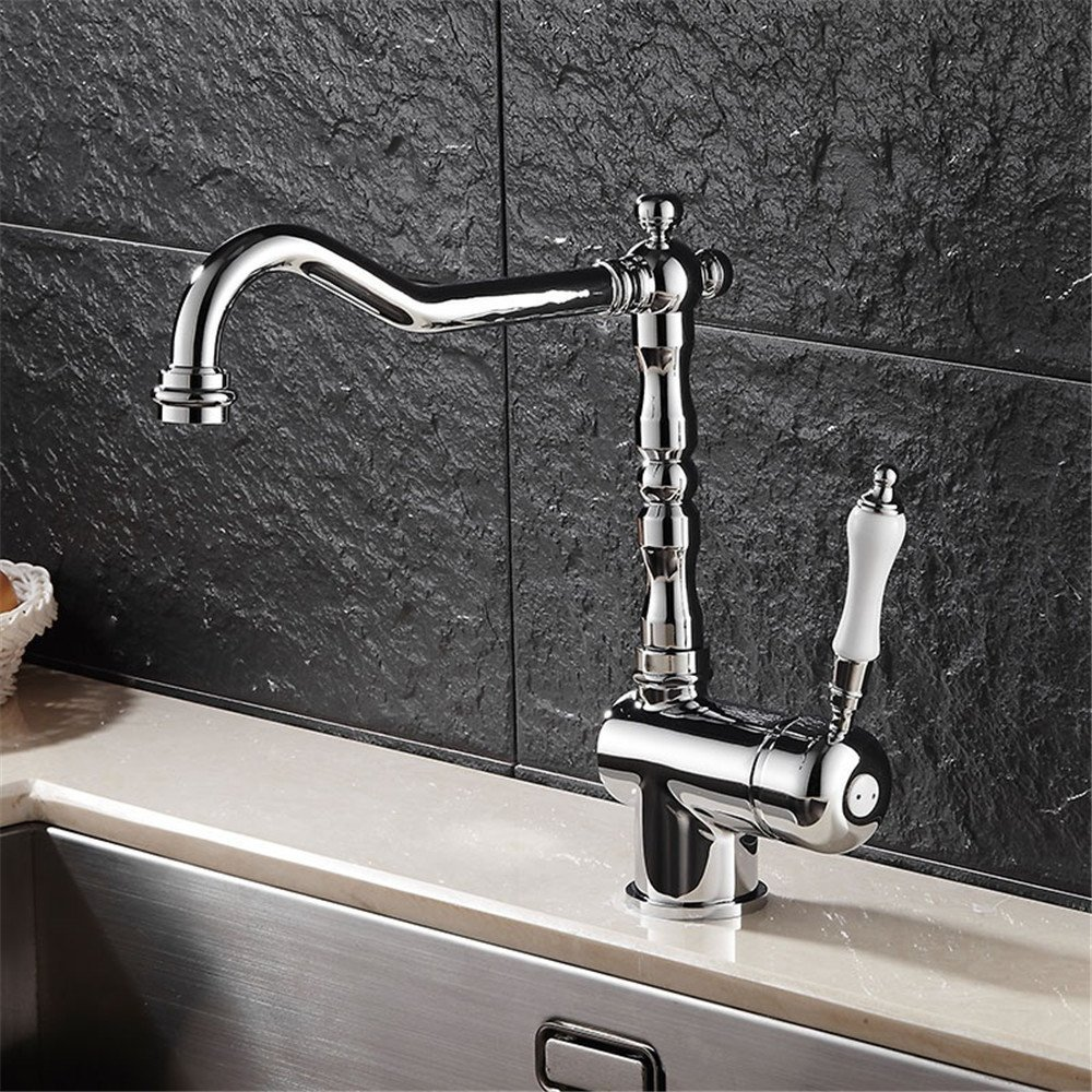 FHLYCF Kitchen faucet, hot and cold copper washing dish, faucet can rotate platform, basin head, water faucet