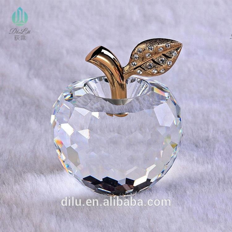 Delicate Colorful Crystal Glass Apple For Christmas Favor Apple Crystal Gifts And Decorations