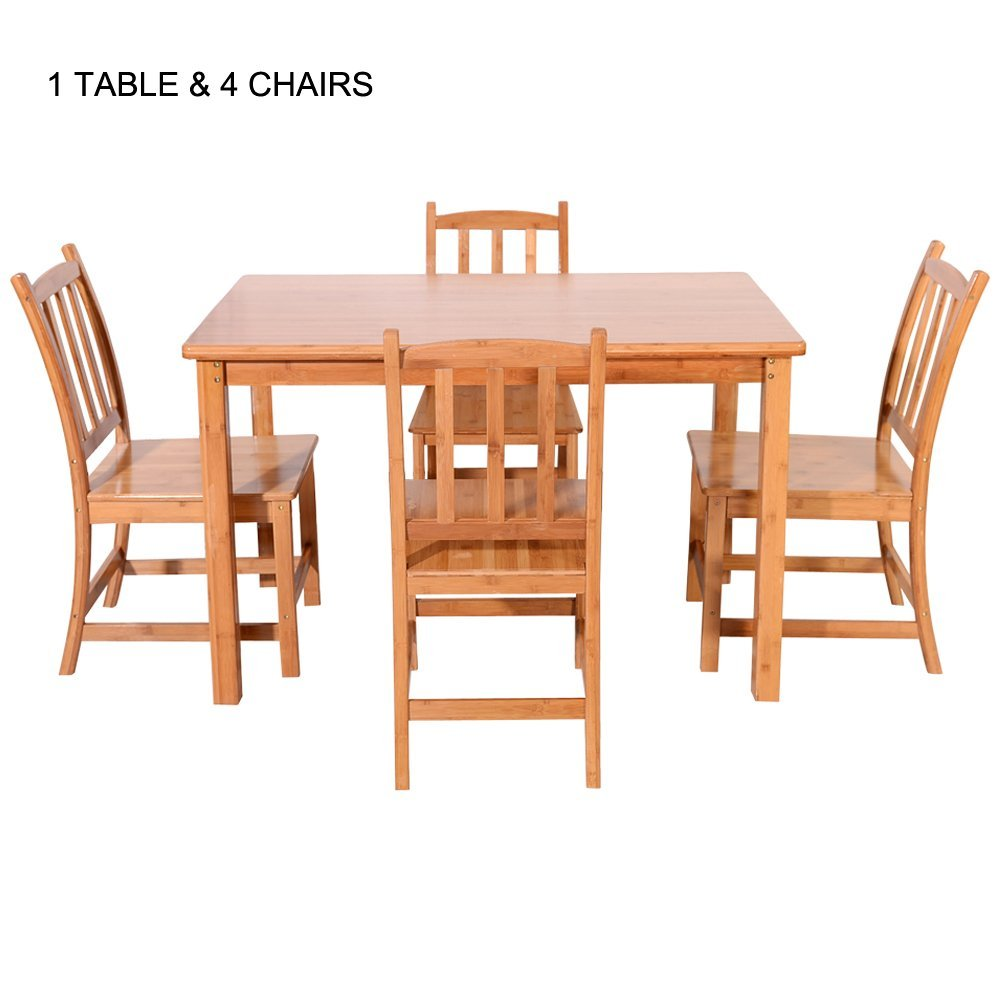 """Bonnlo Kids' Furniture Bamboo Rectangle Dining Table 5-Piece Dining Set, with 1 Table 4 Chairs 47 1/4"""" W x 27 3/5"""" D x 29 1/2"""" H"""
