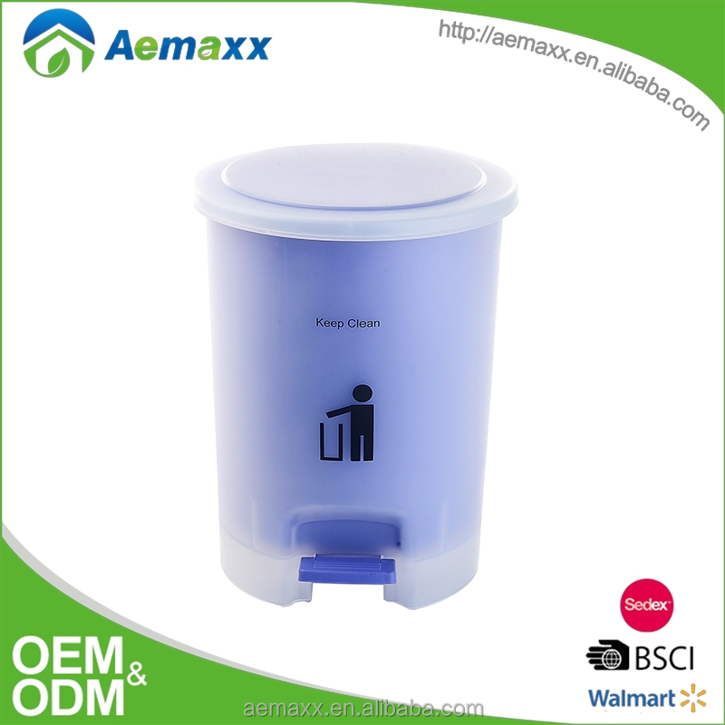 Aemaxx round plastic dustbin transparent trash can with pedal and inner liner
