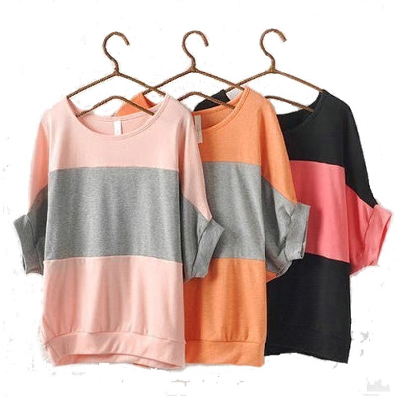 a11991eb917 Get Quotations · women tops summer batwing sleeve loose stripe casual t  shirt women batwing shirt school blusas S