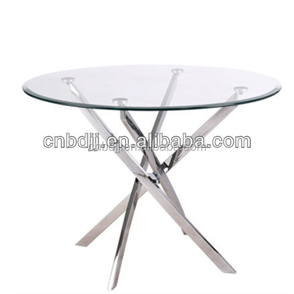 elegant & cheap dining chair and tempered glass top round dining table with chromed legs