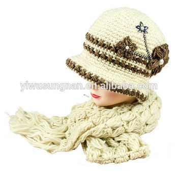Women's fashion winter scarf and hat set for women