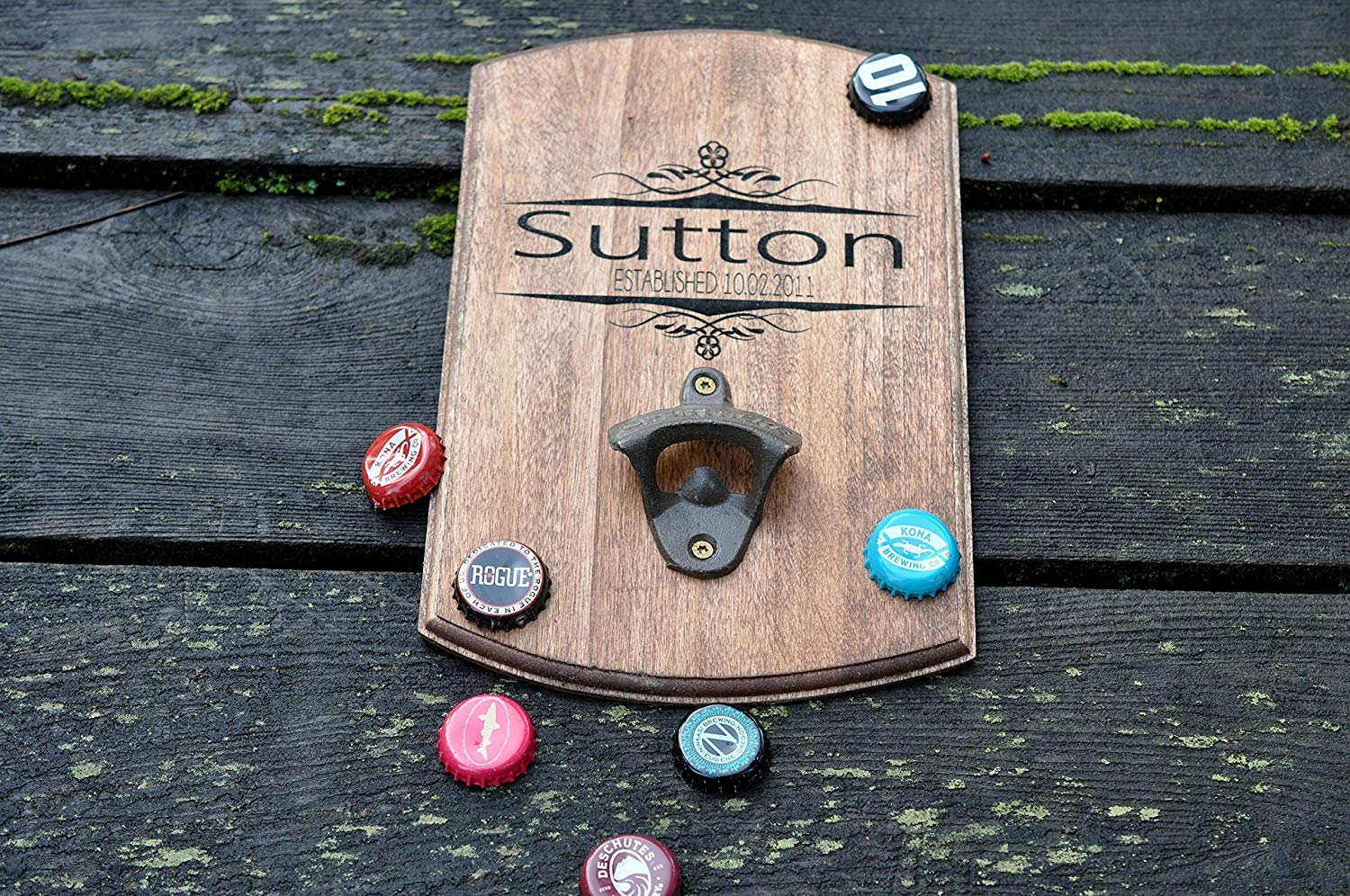 Wall Mounted Bottle Opener Wood Laser Engraved Personalized Designs