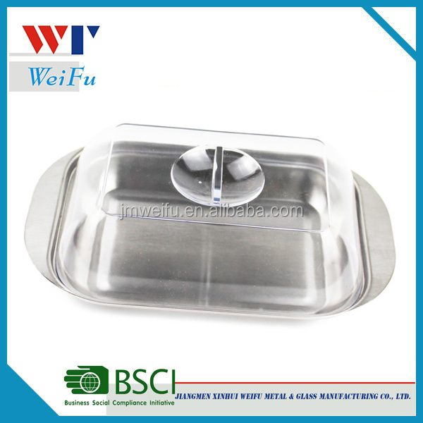 Plastic cover and stainless steel covered cake plate/Butter plate/ Cake Dish