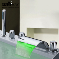 Luxury Bathroom Tub Mixer Five-hole Waterfall Bathtub Faucet with LED Light