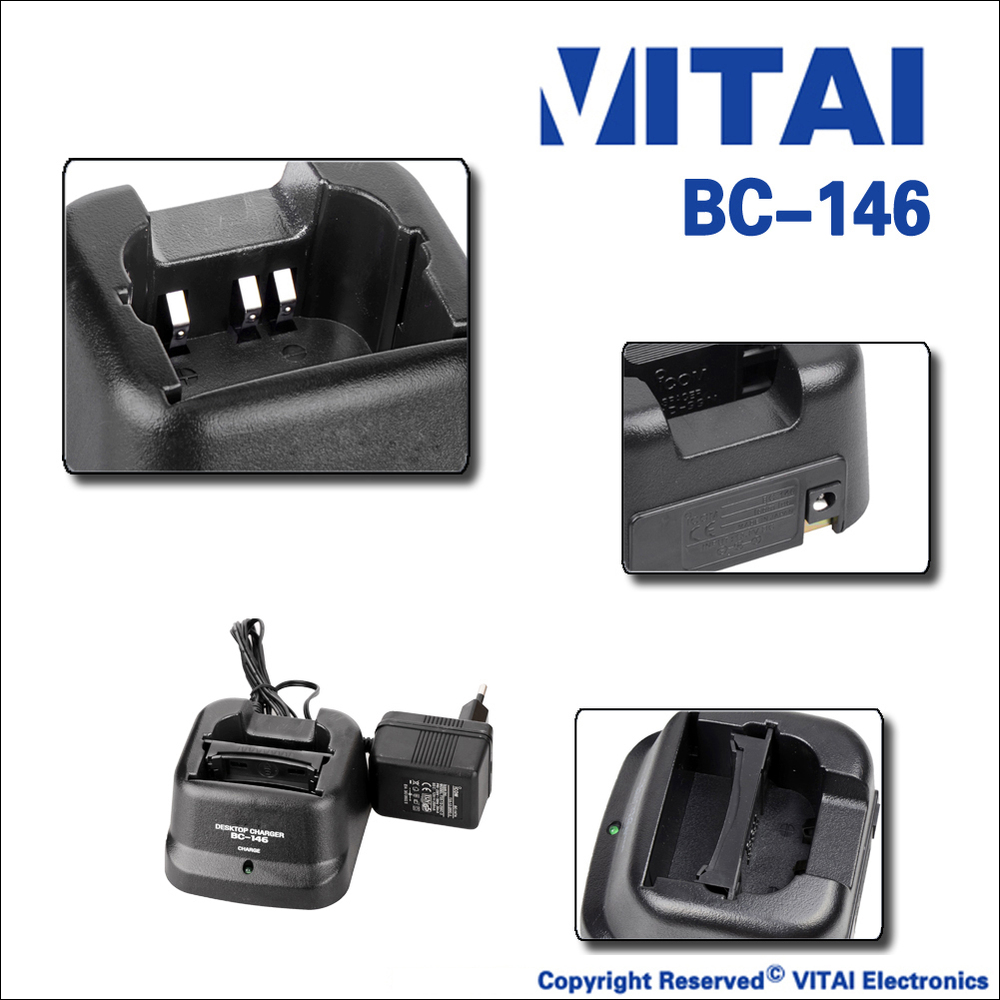 VITAI BC-146 Portabel Radio Desktop Cradle Charger Desktop Power Charger Dua Arah Pengisi Baterai