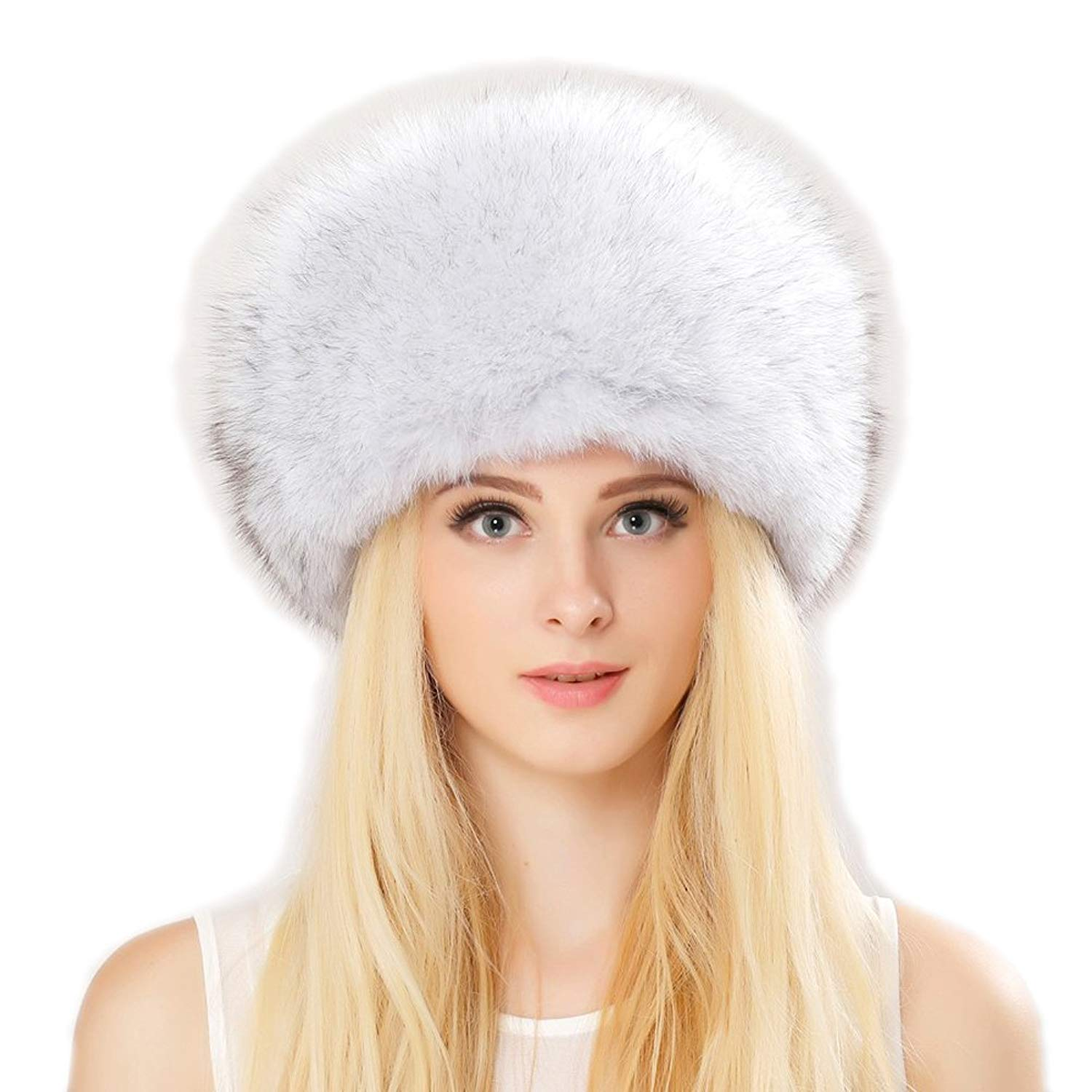 4c0b3e54 Get Quotations · Zegeon Fox Fur Roller Hat With Leather Top For Women