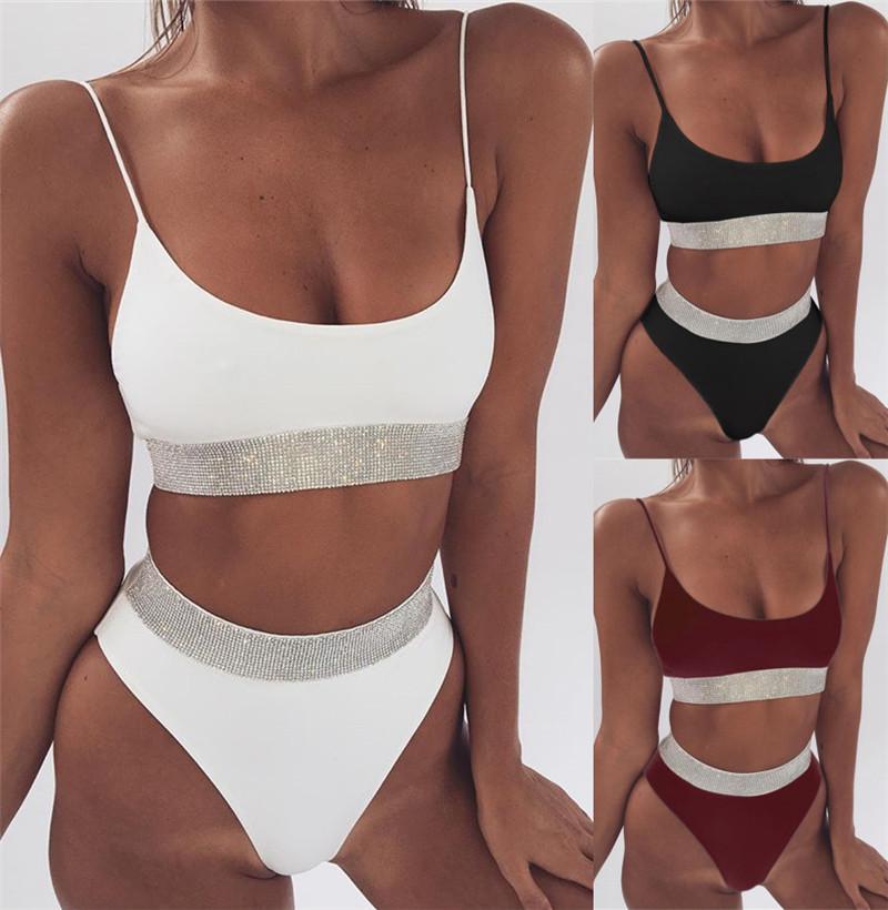 2018 sexy high waist bikini split swimsuit ladies sequins solid color bikini