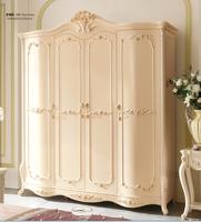 wholesale cheap white Luxury 4 doors wardrobe wood bedroom furniture
