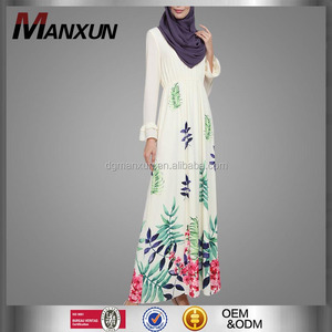 Hot sale asian clothing women printed jubah muslimah malaysia flare sleeves dress for ladies
