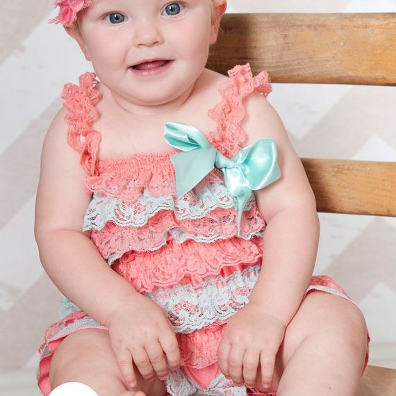 Romper Set Lace Petti Romper Coral and Aqua Petti Romper Baby Girl Toddler Photo Prop wedding