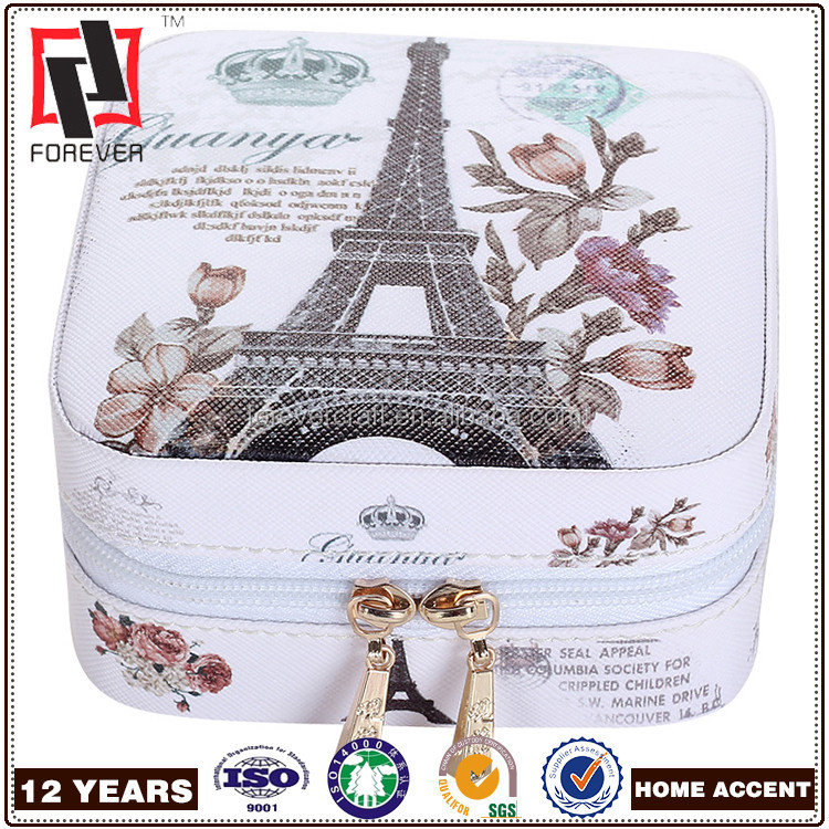 Small Faux Leather Travel Jewelry Box Organizer