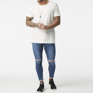 2019 fashion new style wholesale high waist top 10 jeans brands mens super skinny knee ripped denim jeans men
