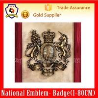 UK Royal Heraldry Blazon Lion & Unicorn Coat of Arms Shield Wall Sculpture(HH-emblem-016H)