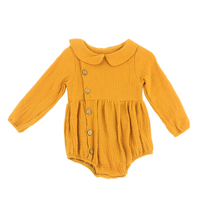 organic baby bamboo clothing wholesale cotton muslin mustard longsleeve rompers