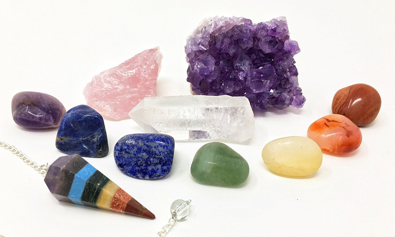 11 pcs Chakra Crystal Healing Kit / Lot of 7 Chakra tumbles, Chakra Pendulum, Amethyst Cluster, Raw Rose Quartz, and Crystal Point / Bohemian Meditation Set by HappyAura