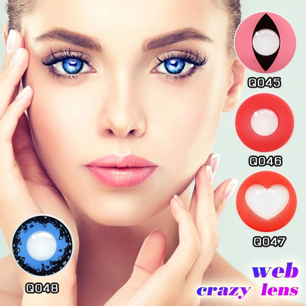 wild scary eyes red heart special design Halloween crazy contact lenses