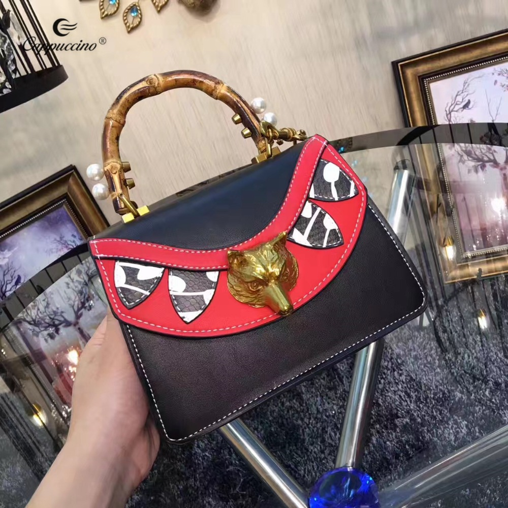 China Manufacturer Bamboo Handle Metal Chain Genuine Leather Super Mini handbag For Women