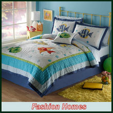 Wholesale Cartoon Fish Applique Children Bedding Set Quilt Cover