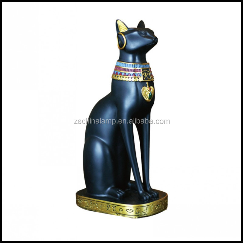 Egypt Resin Table Top Cat Sculpture With Black Color For Home Decor