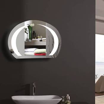 Norhs Quality Frameless Oval Led Light Illuminated Wall Decorative Bathroom Mirror Designs With Up