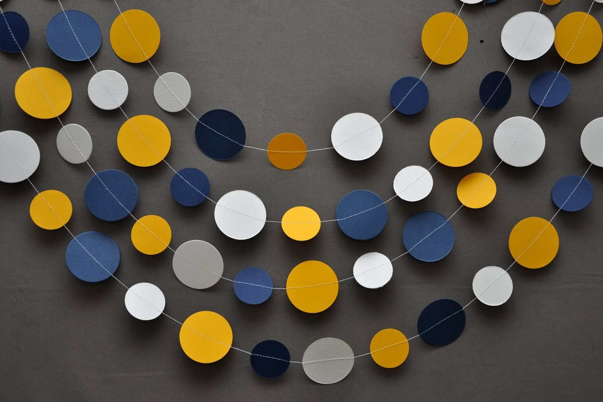 Dutch wedding garland ,Paper garland, Birthday decorations, Birthday party garland, yellow,blue and white garland