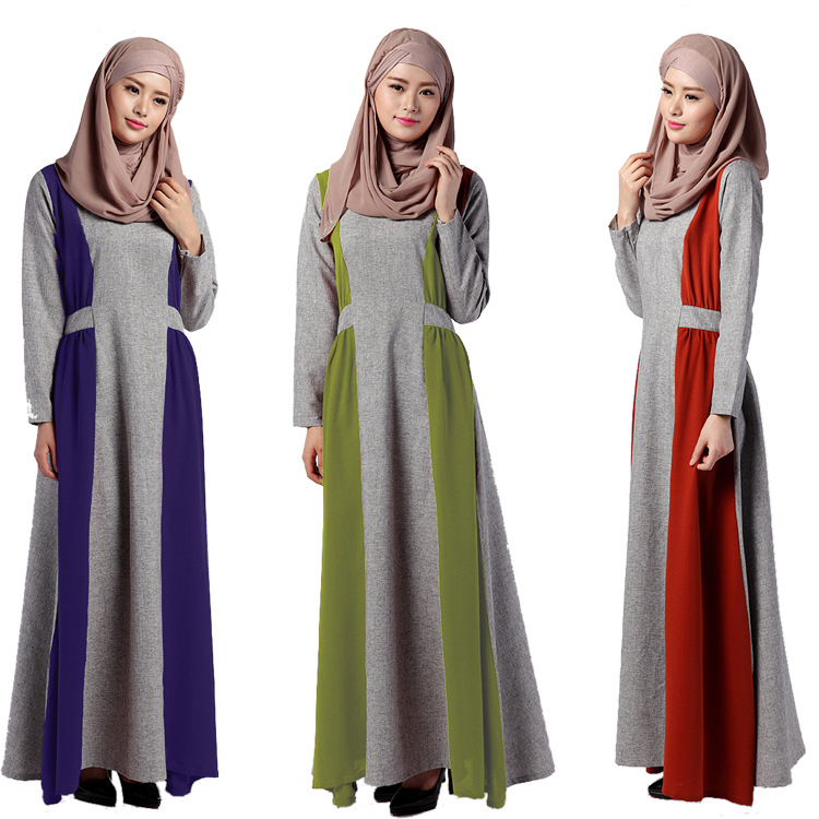 Latest design cheap long sleeves islamic maxi dress cotton dubai muslim abaya dress