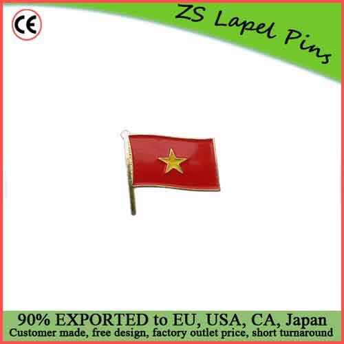 Custom Top Quality Competitve Pricing Fast Shipping Satisfaction Guaranteed Vietnamese National Flag Lapel Pins