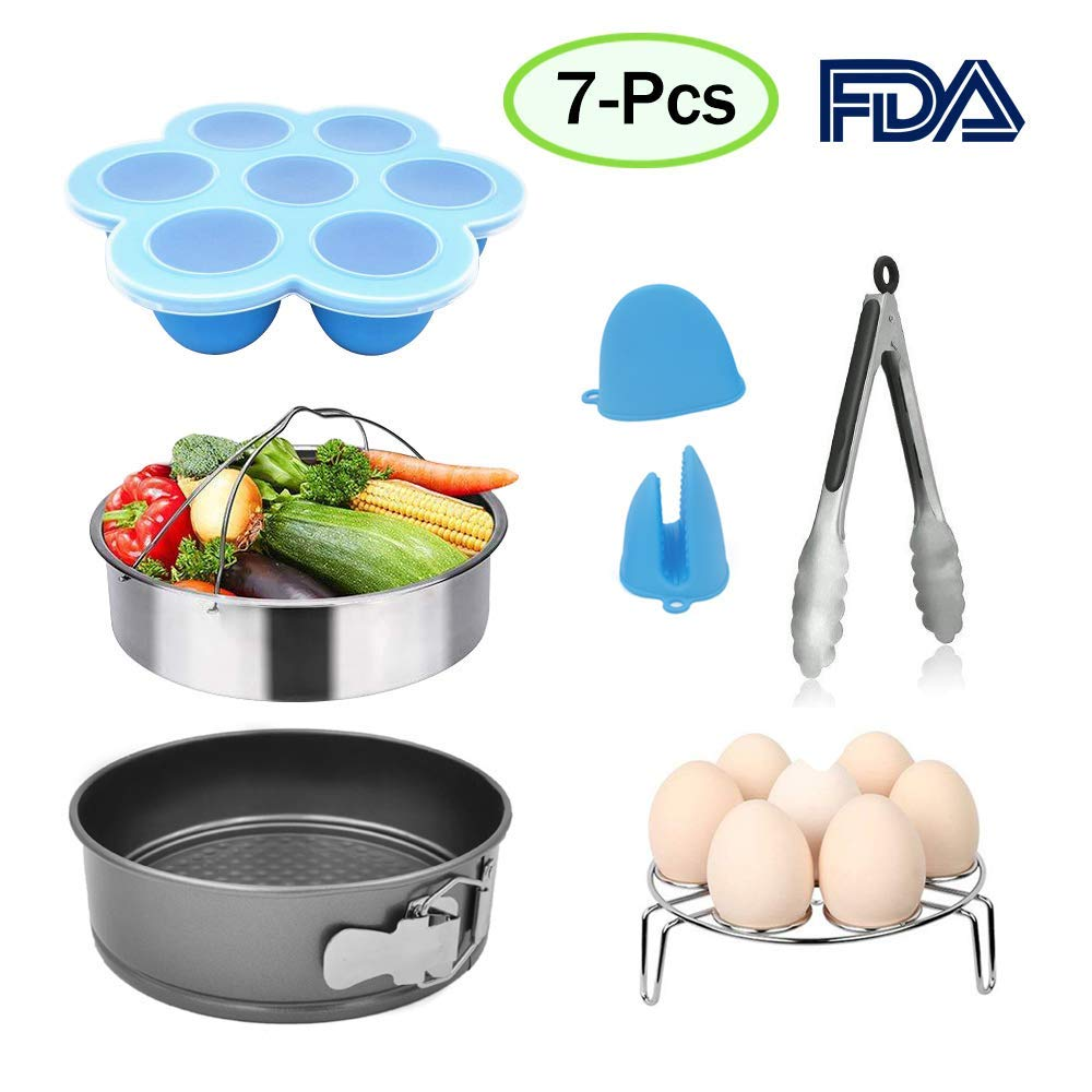 Instant Pot Accessories Set-Fits 5,6,8 Qt with Steamer Basket,Egg Steamer Rack,Egg Bites Molds,Non-stick Spring form,Pan Kitchen Tongs,Mini Mitts