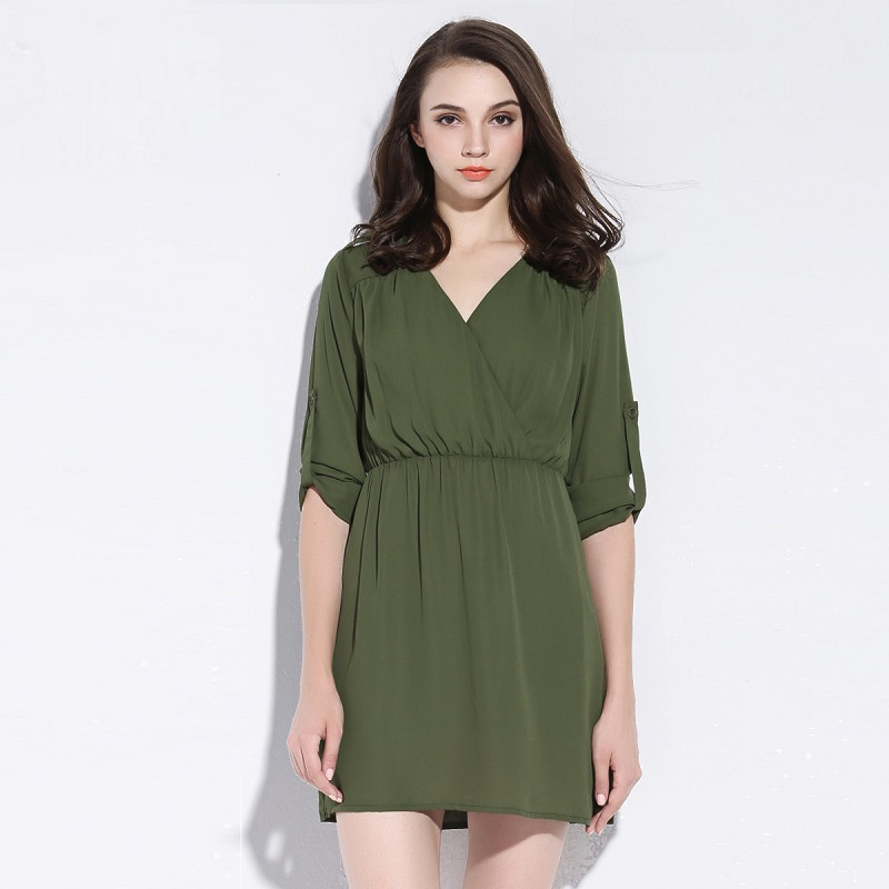 7487ac800aa7f Get Quotations · Plus Size Dress Women Autumn Dress V Neck Elastic Waist  Epaulet Chiffon Dress 2015 New Adjustable