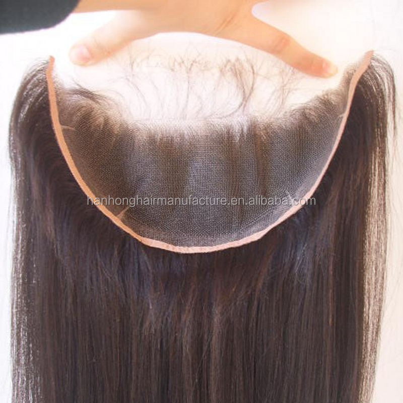 Ear to ear human hair wholesale cheap brazilian silky straight lace frontal closure