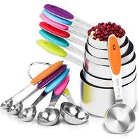 12 Pieces Measuring Cups and Spoons Set Stainless Steel 7 Measuring Cups & 5 Measuring Spoons
