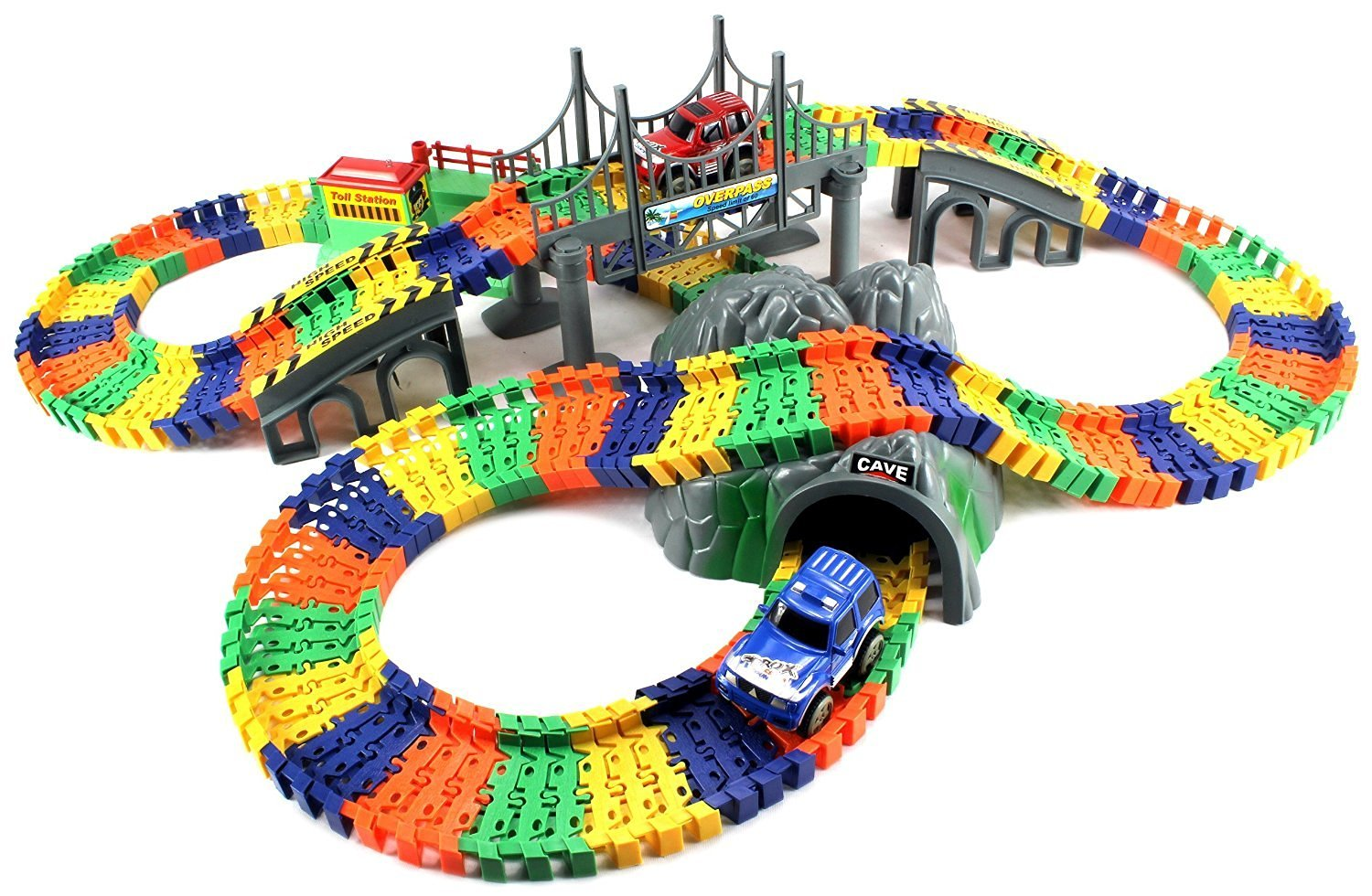 Velocity Toys Track Car Pleasant Journey Cave Bridge Toll Station Deluxe 234 Piece Flexible Playset with 2 Battery Operated Toy Accessories, En
