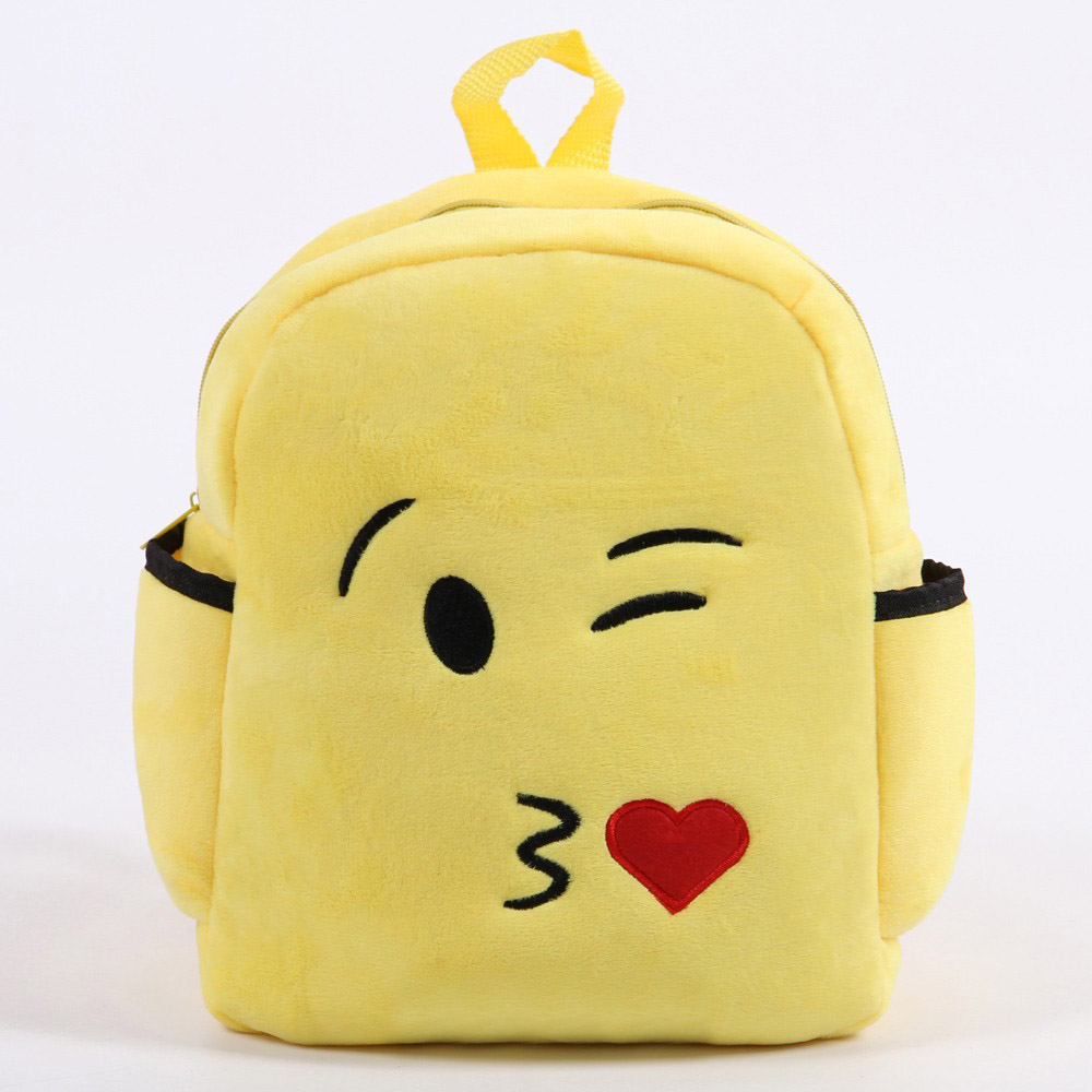Emoji Emoticon Yellow Plush School Backpack For Children