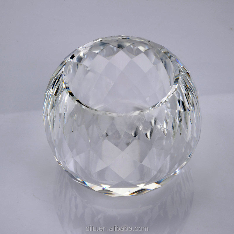 DL-ZT21 Modern Crystal ball candlestick table crystal tea light candle holder /crystal candle holder/crystal prism candle holder