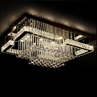 Top sale modern rectangle shape beautiful k9 clear crystal pendant chandelier led lighting fixture for home