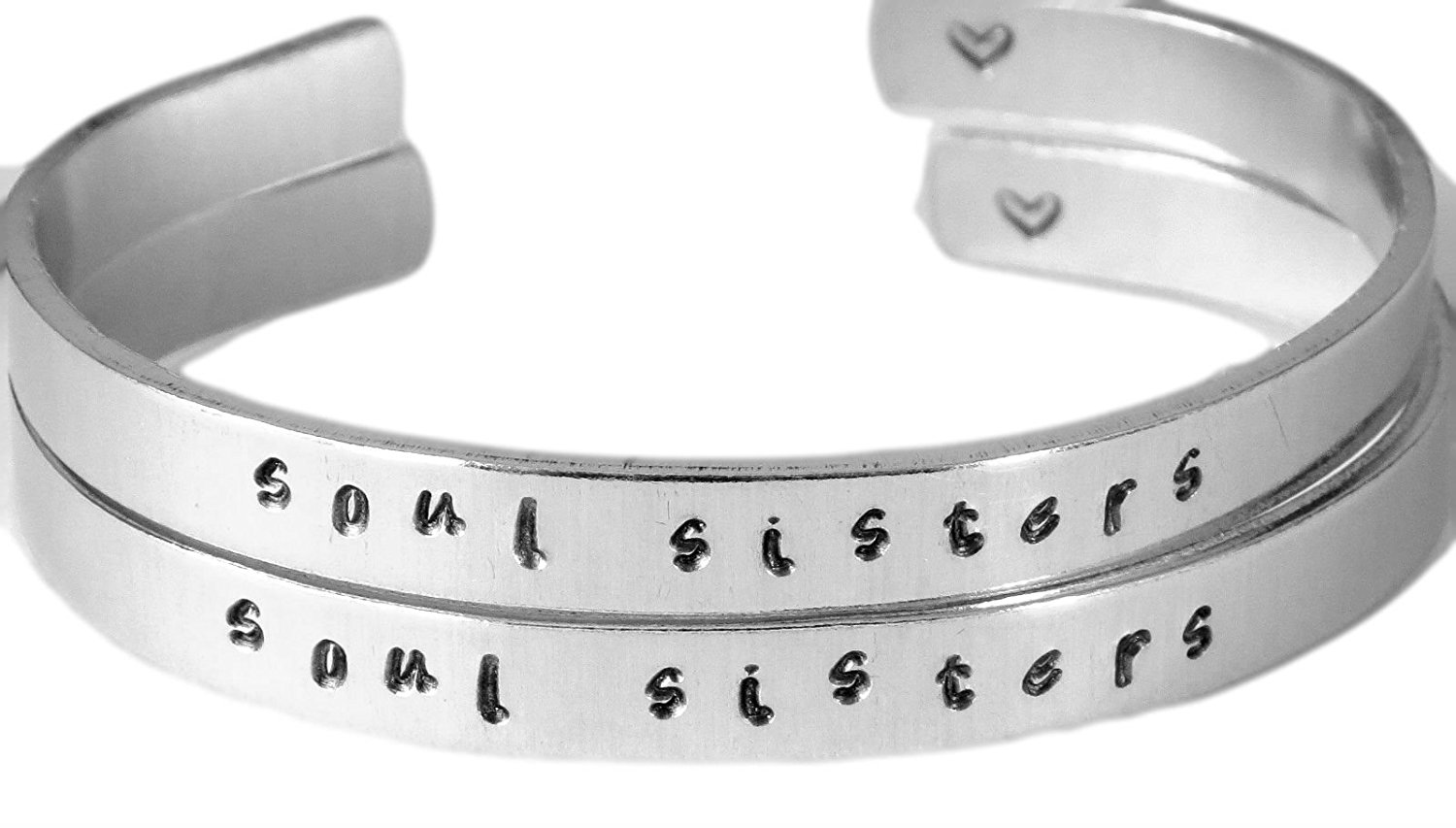 Soul Sisters - Hand Stamped Aluminum Cuff Bracelets Set Handwritten Forever Love Friendship BFF