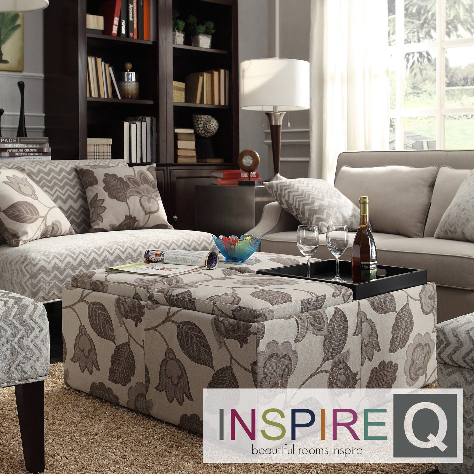 Outstanding Buy Inspire Q Montrose Grey Floral Storage Cocktail Ottoman Gmtry Best Dining Table And Chair Ideas Images Gmtryco