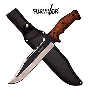"""HK-795BW SURVIVOR HK-795BW FIXED BLADE 0249q64kn1 KNIFE """"15"""""""""""" OVERALL djuiovbdsew r9412h6agu d34rtyi FIXED BLADES """"15"""""""""""" OVERALL """"9.5"""""""""""" 5MM BLADE, STAINLESS STEEL 2 TONE FIN"""