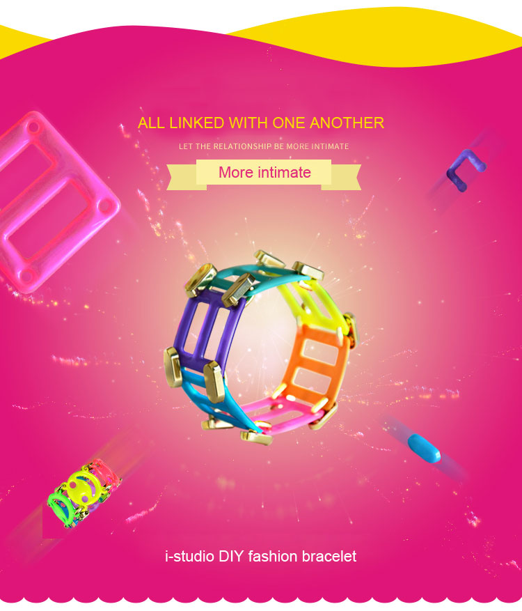 2016 hot sell puzzle toy DIY fashion PVC bracelet for kids