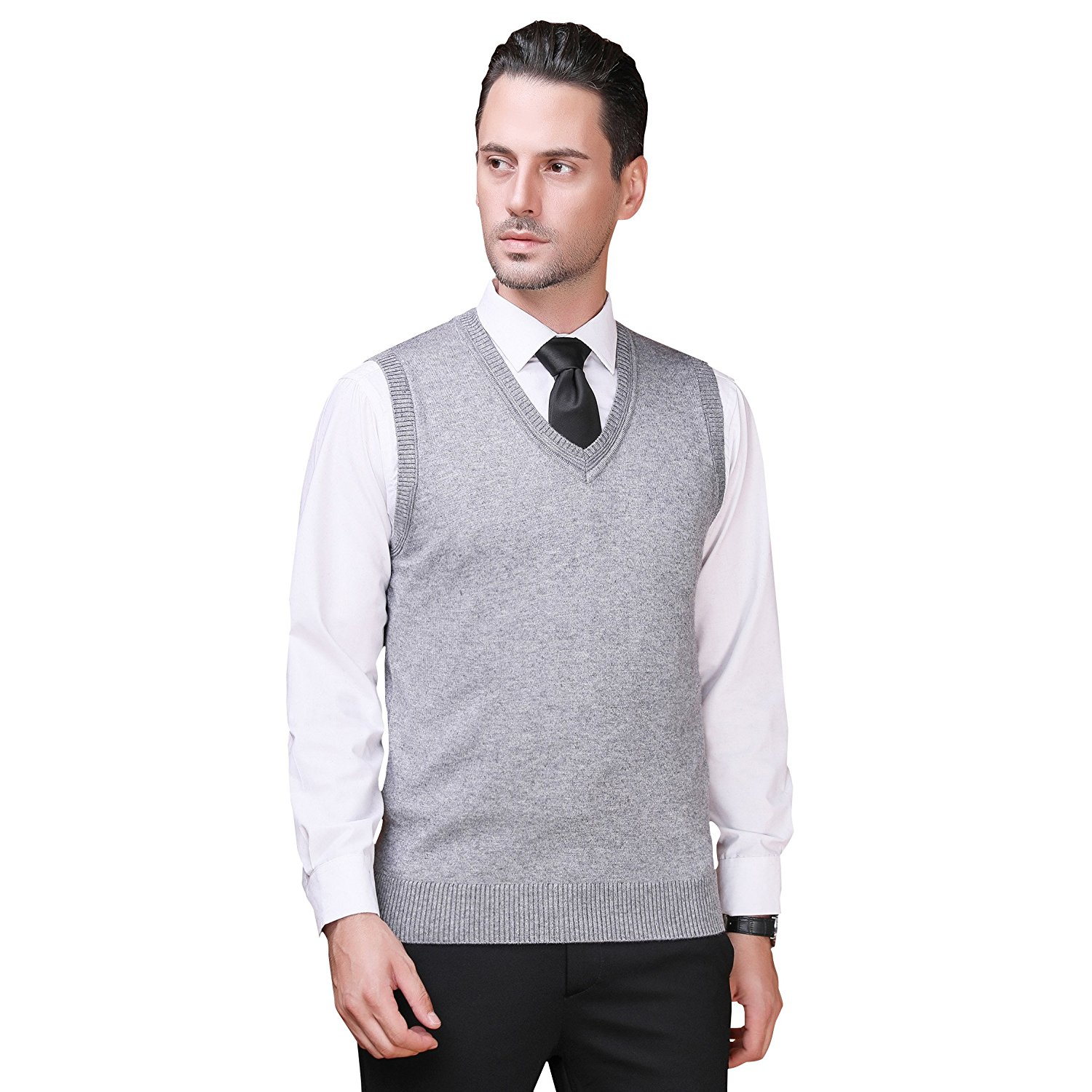 cf01112925f7bf Get Quotations · Zelta Men s Knitted Pullover Vest Sleeveless Sweater Plain  Pattern