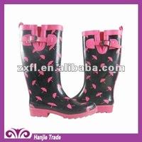 Fashion Ladies Rubber Rain Boot with Umbrella Print