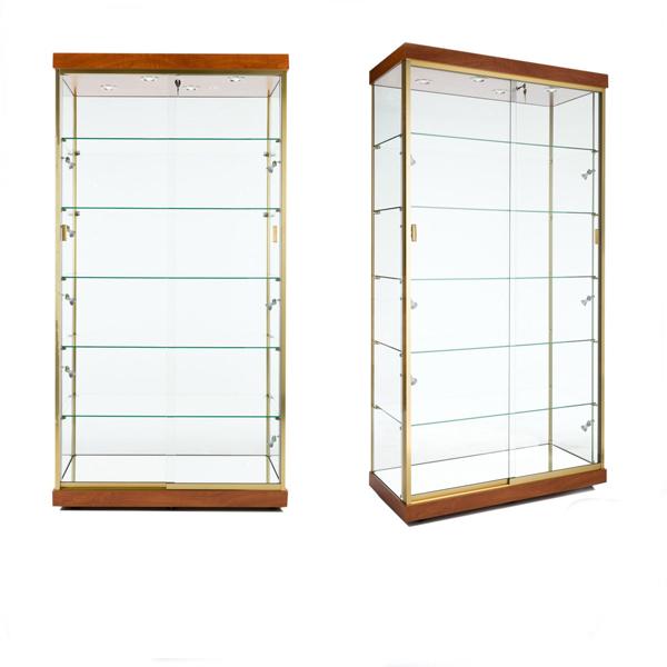 מגניב ביותר ארון דלת זכוכית עם מסגרת זהב / כוס גבוהה ארון אחסון / זכוכית RN-32