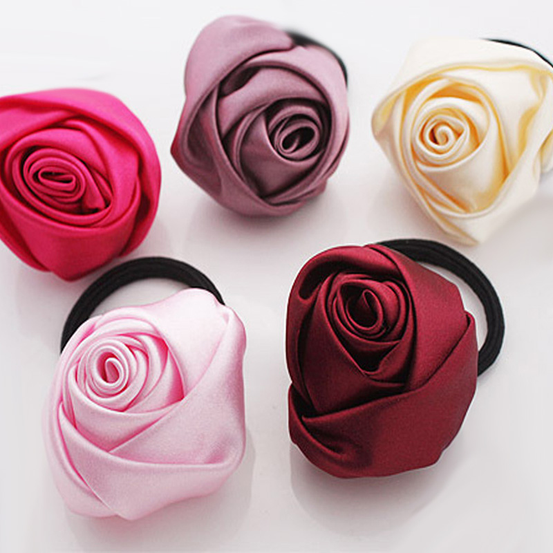 5.5cm Satin Fabric Rose Flower Hair Ring Candy Color Hair Band Hair Jewelry Accessory, N/a