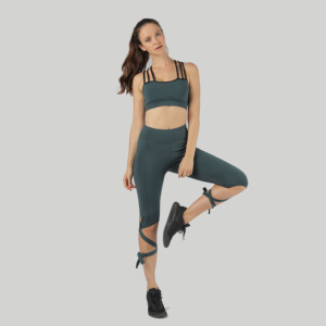 Sport Wear Women Yoga Set Fashion Lace-up Yoga Pant and Bra