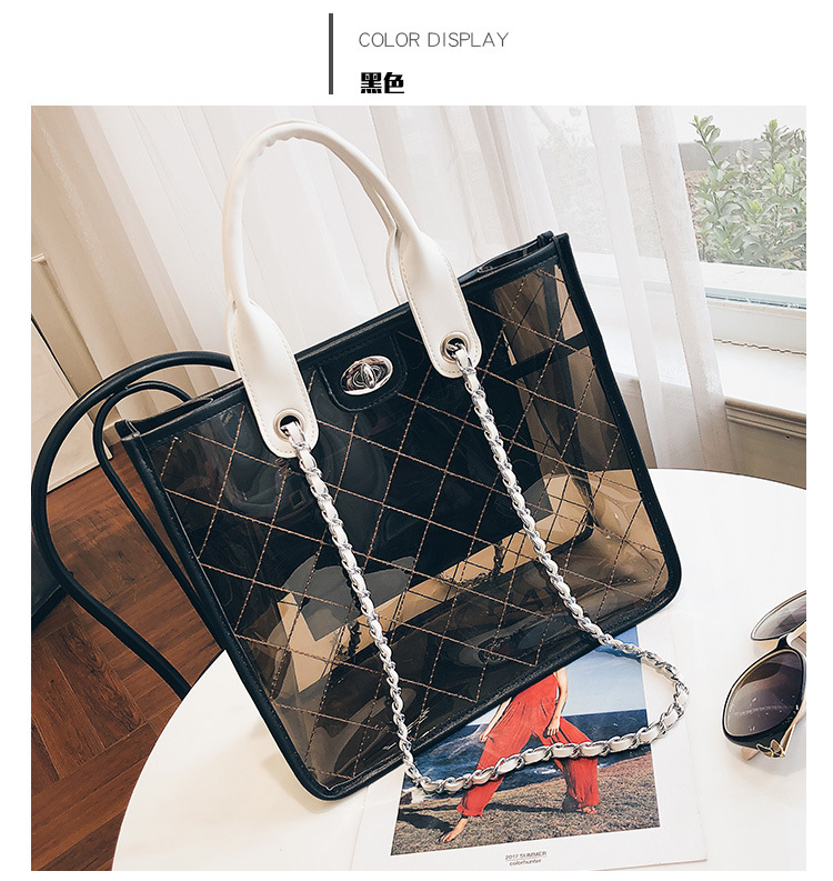 The new tide of large capacity transparent hand han edition chain inclined shoulder bag bag of b/l
