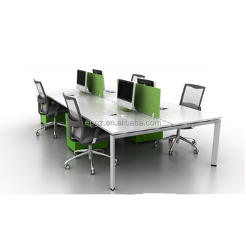 8 Person Office Furniture Work Station, L-Type Office Long Table Workstations